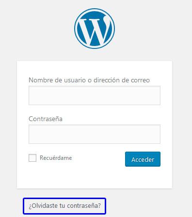 Recuperando contraseña perdida en WordPress