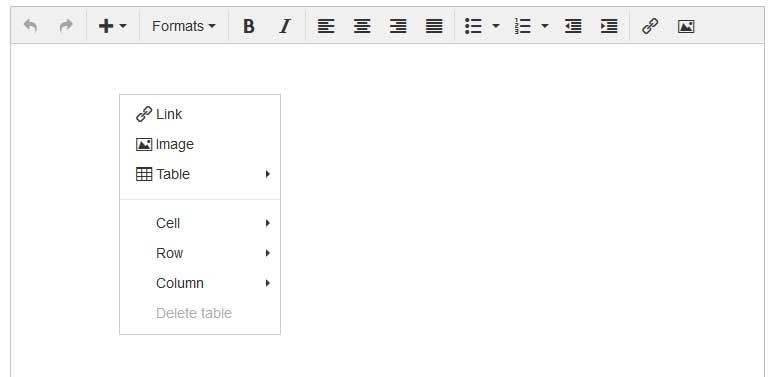 menu contextual tinymce