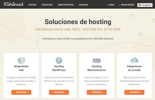 Crear e instalar WordPress: pantalla principal de SiteGround.